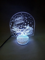 Newest Creative gift colorful 3D Santa Claus night light for Christmas