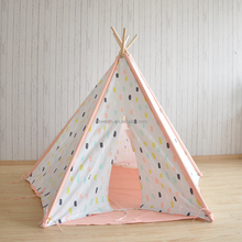 100% cotton canvas dots printed kids indoor teepees (5 sides) children's play tent teepee with windows