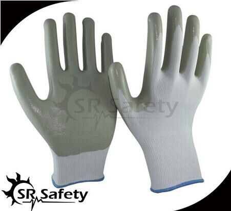 SRSAFETY cheap price 13G smooth nitrile coated light assembly work glove