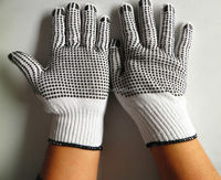 computer machine knitting Cotton Gloves PVC Dotted gloves for construction use