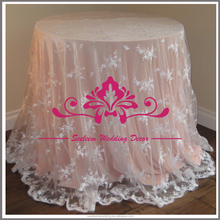 CL016 Elegant lace round table overlays ivory wedding lace tablecloth