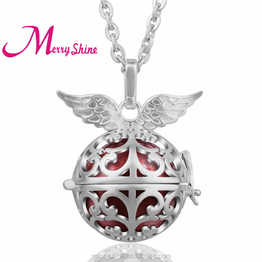 Merryshine New Angel Wing 925 Sterling Silver Baby Bola Mexican Bola Ball Chime Harmony Bola K140N