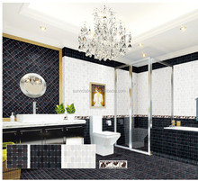 3D inkjet printing bathroom ceramic floor and matching wall tiles white and black color