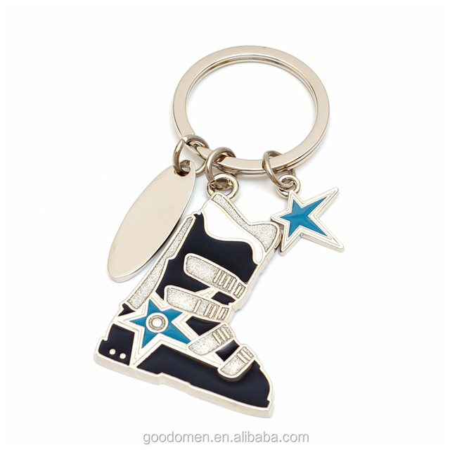 hot selling promotional ski boot souvenir metal custom keychain