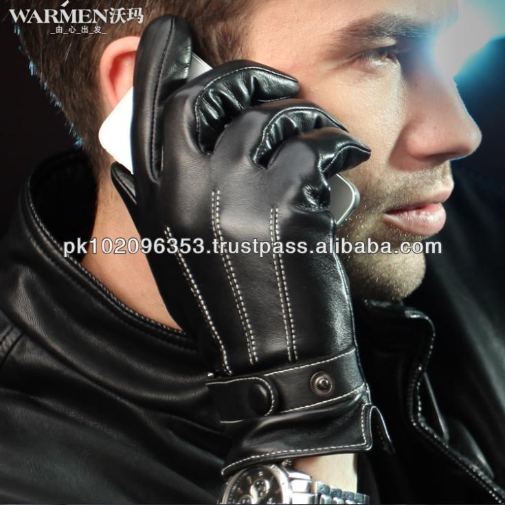 WARMEN 100% Winter Leather Touch Screen Gloves Women Mens Motorcycle Cycling Sheepskin Mittens Weight Lifting Christmas Gift