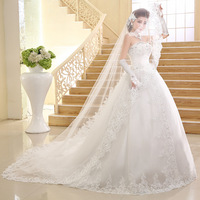 2015 Latest Design high Quality long tail Lace Appliqued Princess bridal women wedding dress