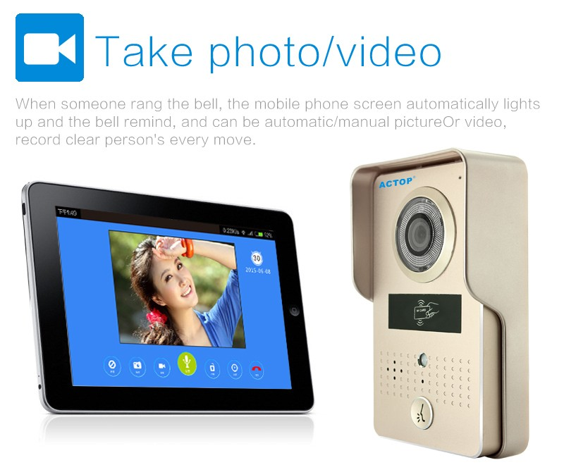 ACTOP wireless video door phone for villa