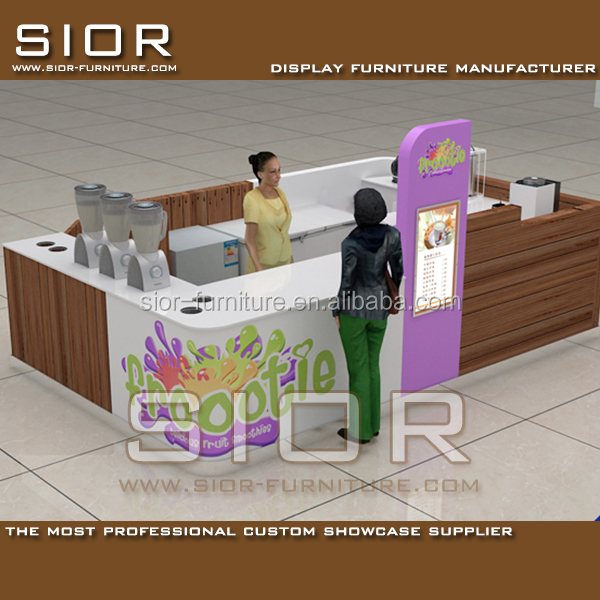 Shopping Mall Unique Smoothie Bar Ice Cream Kiosk Store Design And Frozen Yogurt Kiosk Showcase And Cold Drink Kiosk For Sale