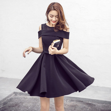 STKKOO Classic Hepburn Style Lace Patchwork Off the Shoulder Short Sleeve Expansion Bottom Elegant A Line Black Dress