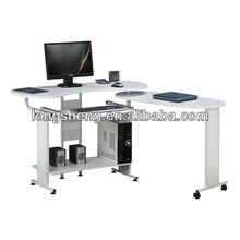 Low Price L Shaped Wooden Computer Desk With Wheels