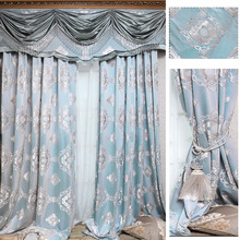 High Quality Elegant Nine Needle Jacquard Discount Chenille Blackout Curtain With Valances