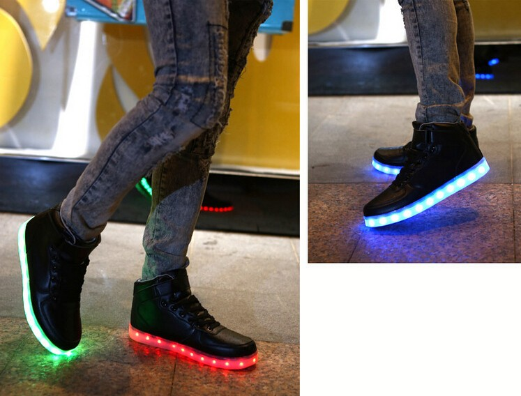 7 Colors LED Luminous Women&Men high top LED Shoes For Adults USB Charging Lights Shoes for Party