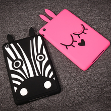 Silicone Pink Rabbit Black Heart Eyes Dog Tablet Covers Cases for Ipad