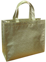 Wholesale eco gold metallic color shopping bags, cheap shopping bags