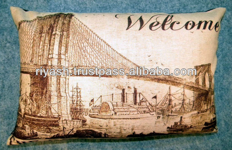 Welcome Theme with Art Image Printed Chambrey Cotton Cushion Cover - 30 x 50 Cm - Rectangle