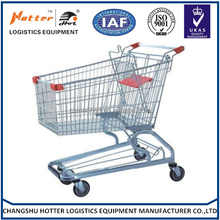 2015 CHINA manufacture Germany 100 Liter Zinc Powder coating/Chrome pu wheel supermarket Shopping cart/ trolley