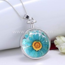 2017 perfume bottle pendant sunflower necklaces women long chain fashion dried flower sweater necklace