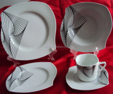 unique shape dinner set in fine porcelain with porpular design printing