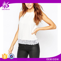 2016 Guangzhou Shandao Supplier New Arrivals Beautiful Summer Fashion Women Sexy Spaghetti Strap White Slim Lace Tops