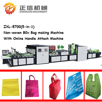 new autoamtic 700 model 5-in-1 non-woven Box bag non woven stereo bag making machine with soft handle sealing machine