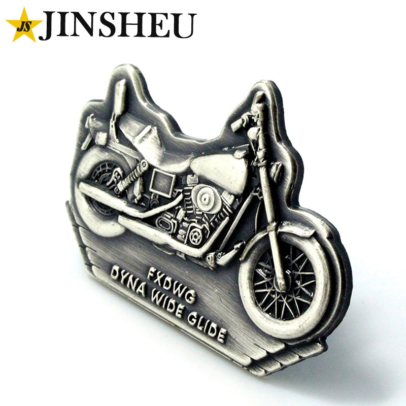 Custom made antique silver motorcycle biker lapel pin