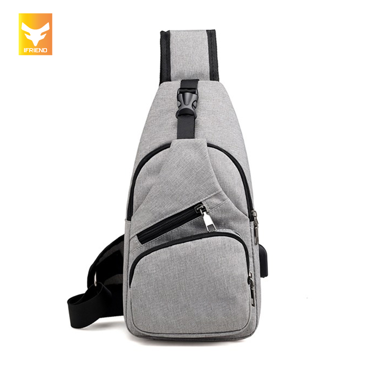 Multi Functional Polyester Business Softback Students Sling <strong>Bag</strong> With USB Charging Port For Men