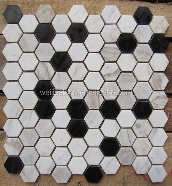 black and white stone marble hexagon 12x12 wall tile