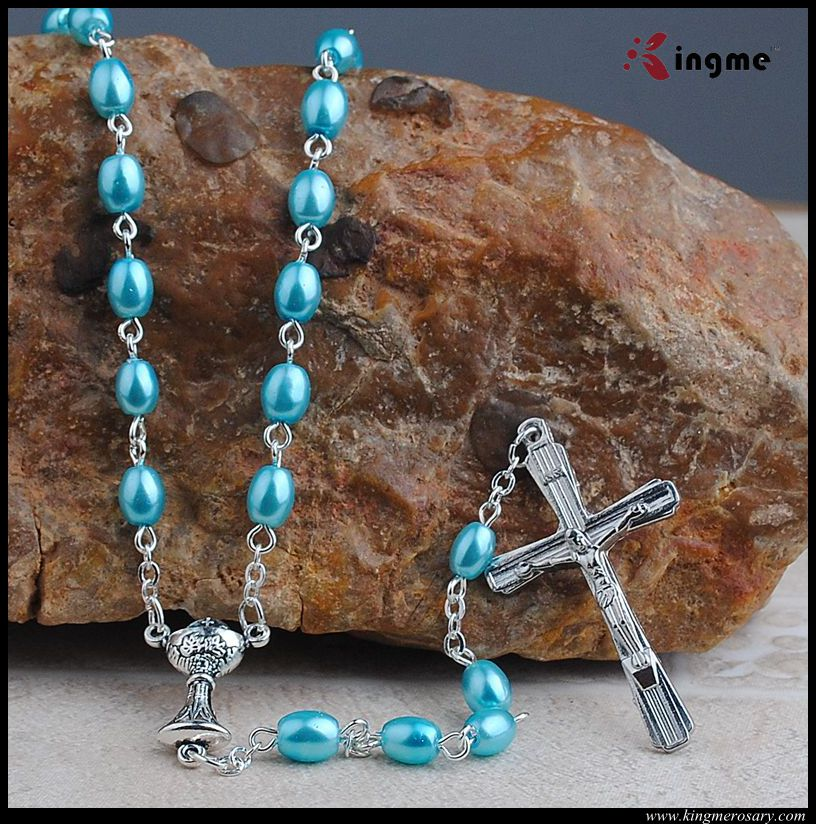 Catholic sweet blue color oval glass pearl rosary necklace