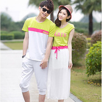 2014 summer fashion China manufacturer wholesale custom o-neck cute couple t shirt design for lovers