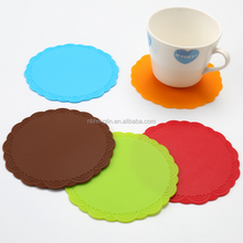 Household Round Non-slip Table Heat Resistant Pad Rose Silicone Coasters