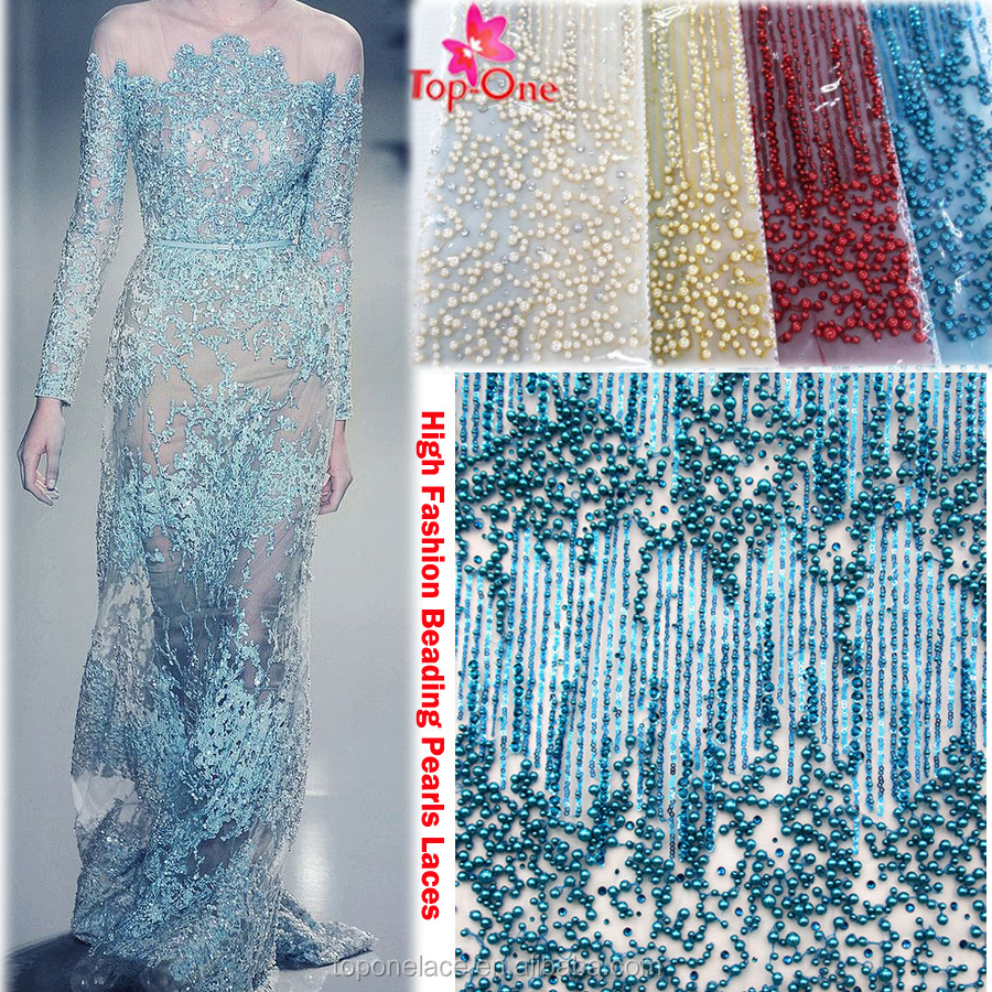 high quality beaded lace fabric 3d lace fabric novelty french lace hand made dresses