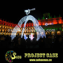 Christmas angel light decorated square arches