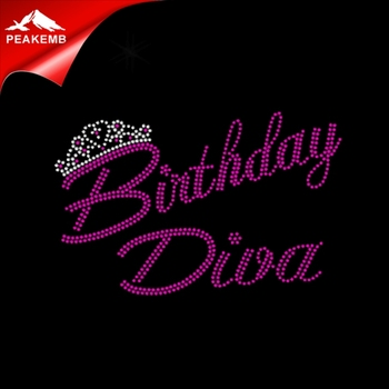birthday diva rhinestone iron on transfer wholesale for shirt