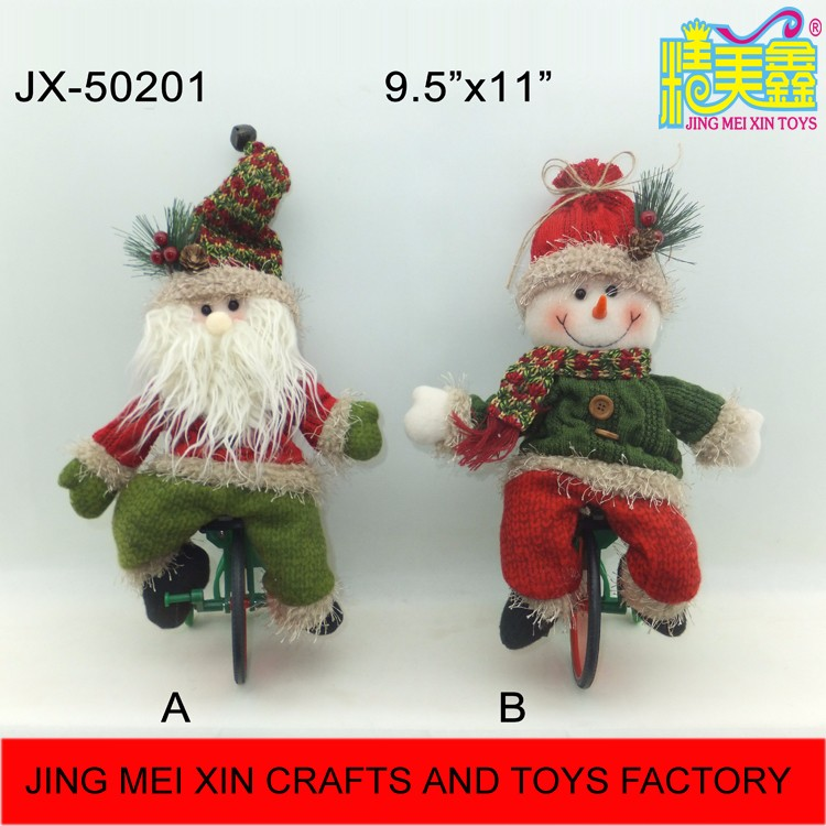 Christmas novelty electric music santa claus snowman bicycling toy for kids