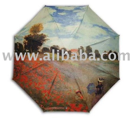 """Monet:poppies"" famous printing 3steps auto folding umbrella"