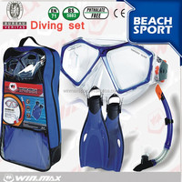 Winmax Adult and Junior Diving Snorkel Set- Dry Top Snorkel / Fin / Single Len Mask / Gear Bag-