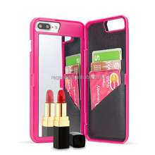 Hot sale mobile case with mirror PU Leather Makeup Mirror wallet Cell Phones Case for iphone