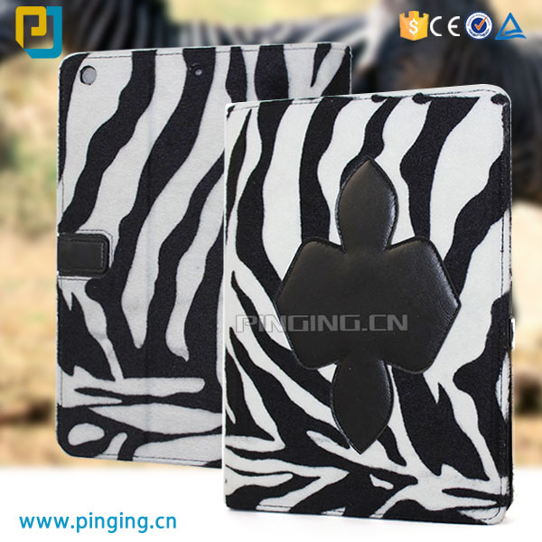 Zebra stripes blanket flip cover leather tablet case for ipad air 2 / 3 stand cover