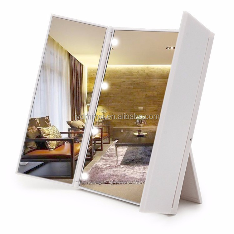 Lady Folding Portable Pocket led makeup mirror 3 spects make up mirror with led light