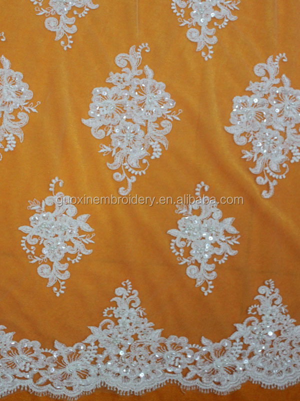 wholesale flower embroidery french beaded lace