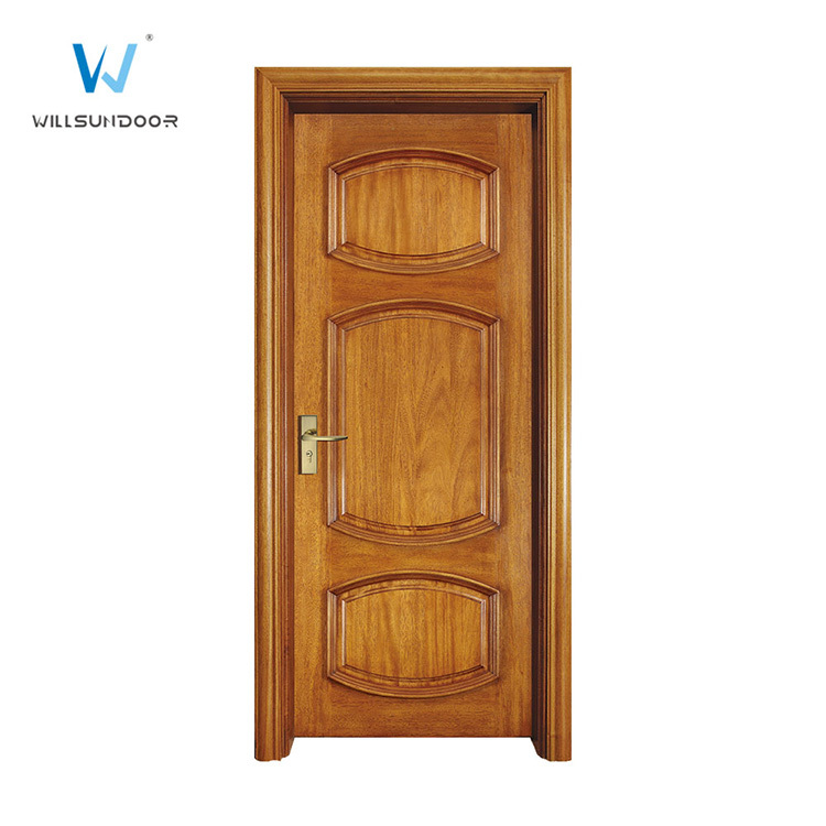 3 Panel Oak Wood Veneer Interior Door Design For Hotel