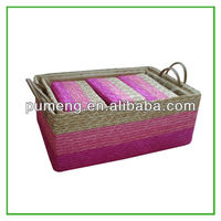 straw basket with leather handles,pvc gift packing