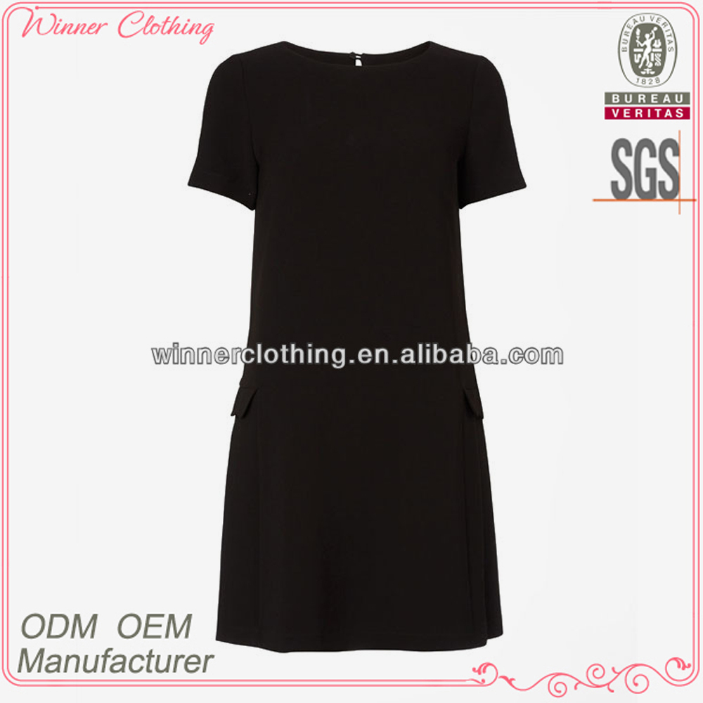 Simple fashion plain black short sleeve designs girl frock dress