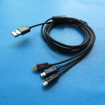 24AWG 3 in 1 micro usb data charger cable 2meter 6ft