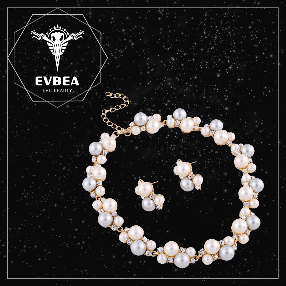 EVBEA Factory Directly Wedding Jewelry Set Clear Crystal Diamond White Pearl Necklace Earrings Heavy Jewelry Set