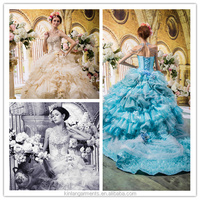 MI-0016 New Luxurious High Quality colorful Wedding Dress with Embroidery