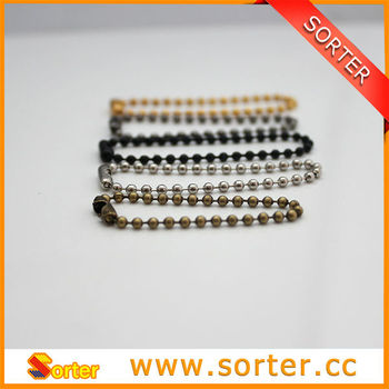 new style 1mm metal ball chain necklace with connector