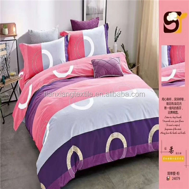 100% polyester microfiber simple design pigment printing fabric for bed sheet