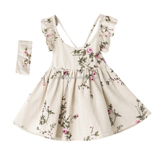 New 100% Linen boby Floating Sleeve backless Skirt Flower Printing <strong>Girl's</strong> <strong>Dress</strong> with Headband