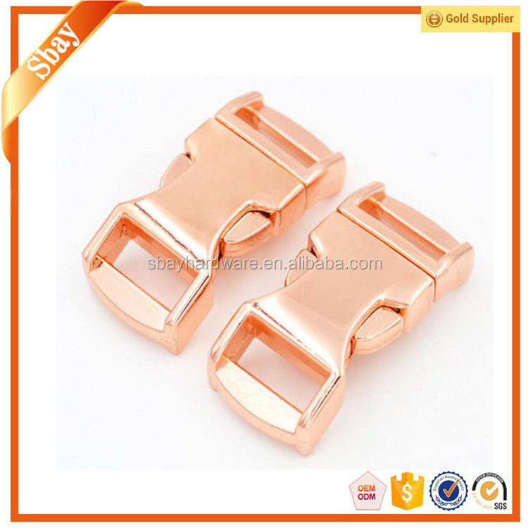 Rose gold colour metal side release buckle for strap